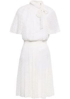 Missoni Woman Tie-neck Crochet-knit Mini Dress Ivory