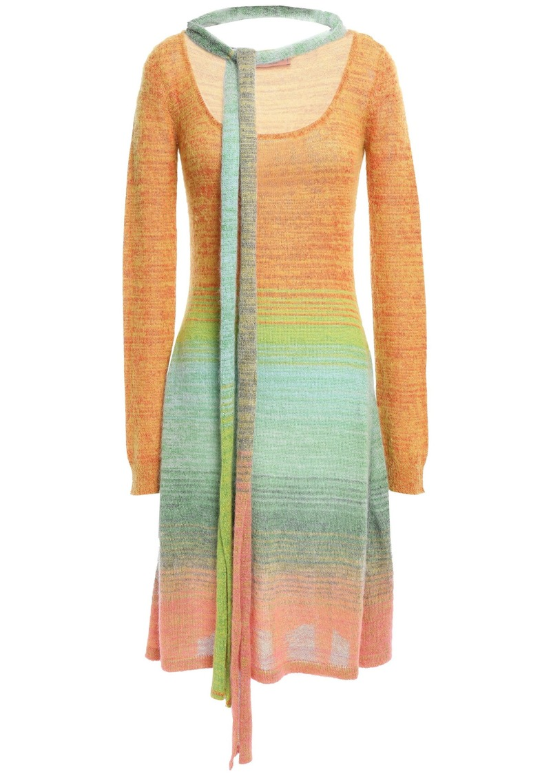 Missoni Woman Tie-neck Dégradé Knitted Dress Orange