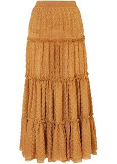 Missoni Woman Tiered Metallic Jacquard-knit Maxi Skirt Gold