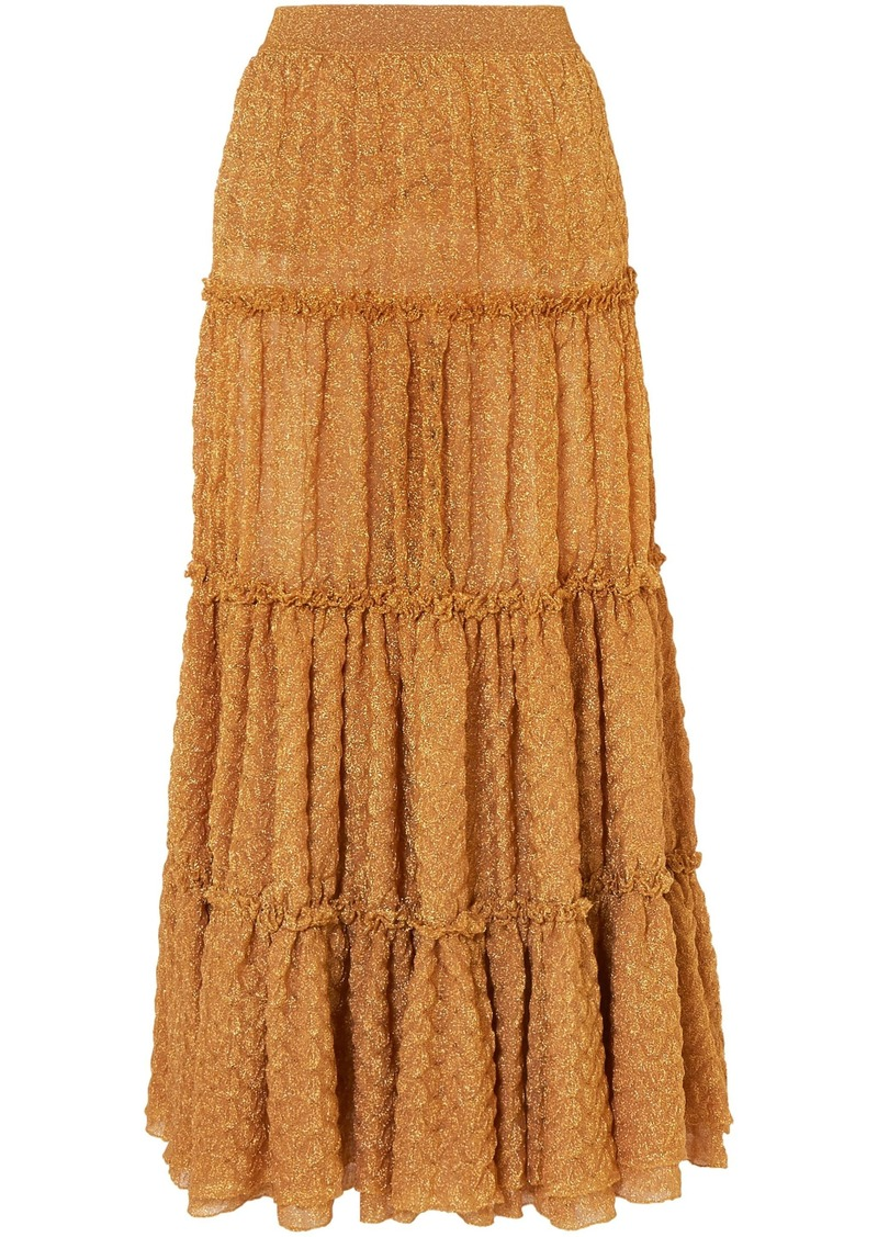 Missoni Woman Tiered Metallic Jacquard-knit Maxi Skirt Gold