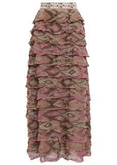 Missoni Woman Tiered Metallic Crochet-knit Maxi Skirt Mushroom