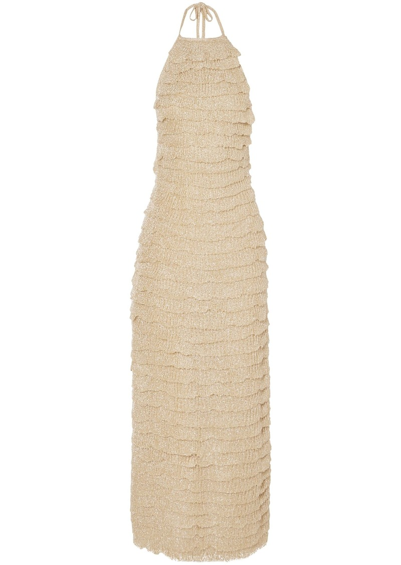 Missoni Woman Tiered Metallic Knitted Halterneck Maxi Dress Gold