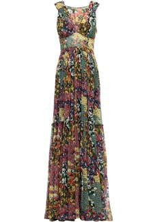 Missoni Woman Tiered Pleated Floral-print Silk-georgette Maxi Dress Sage Green