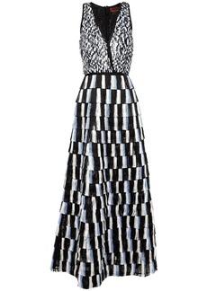 Missoni Woman Tiered Sequined Silk-chiffon And Fringed Crochet-knit Maxi Dress Black