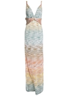 Missoni Woman Twist-front Dégradé Metallic Crochet-knit Maxi Dress Multicolor
