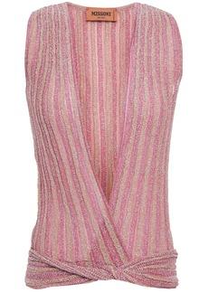 Missoni Woman Twist-front Metallic Crochet-knit Top Pink
