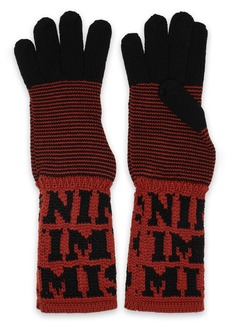 Missoni Woman Two-tone Intarsia Wool Gloves Light Brown