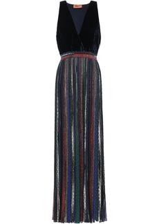 Missoni Woman Velvet And Metallic Crochet-knit Maxi Dress Midnight Blue
