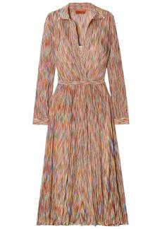 Missoni Woman Wrap-effect Crochet-knit Cotton-blend Midi Dress Multicolor