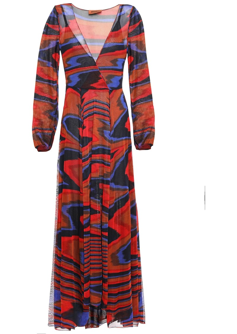 Missoni Woman Wrap-effect Jacquard-knit Maxi Dress Claret