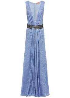 Missoni Woman Wrap-effect Metallic Crochet-knit Maxi Dress Light Blue