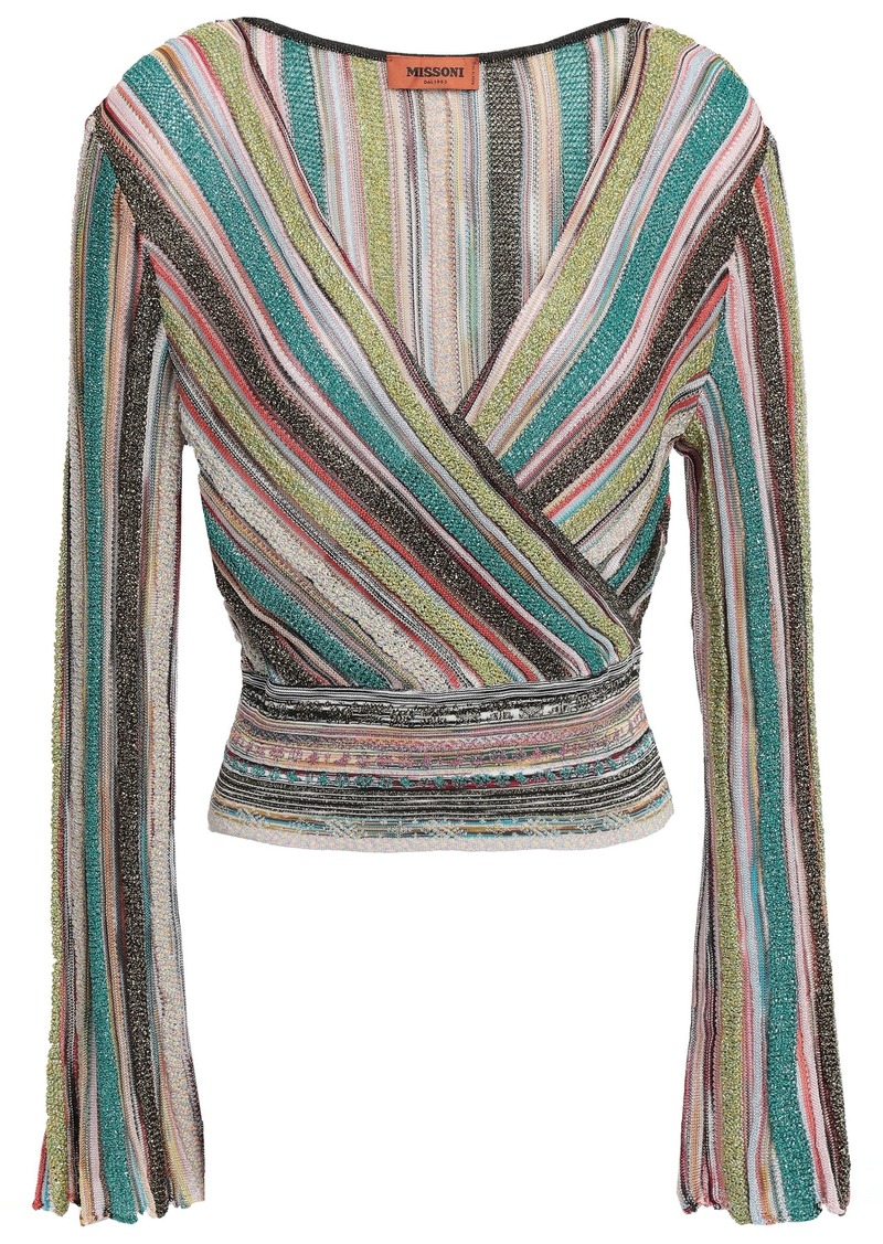 Missoni Woman Wrap-effect Metallic Striped Crochet-knit Top Turquoise