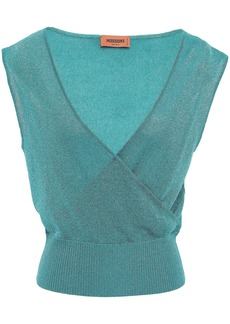 Missoni Woman Wrap-effect Metallic Crochet-knit Top Turquoise