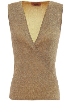 Missoni Woman Wrap-effect Metallic Knitted Top Gold