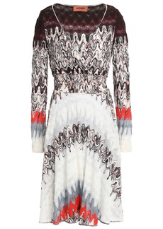 Missoni Woman Wrap-effect Metallic Printed Crochet-knit Wool-blend Dress Burgundy