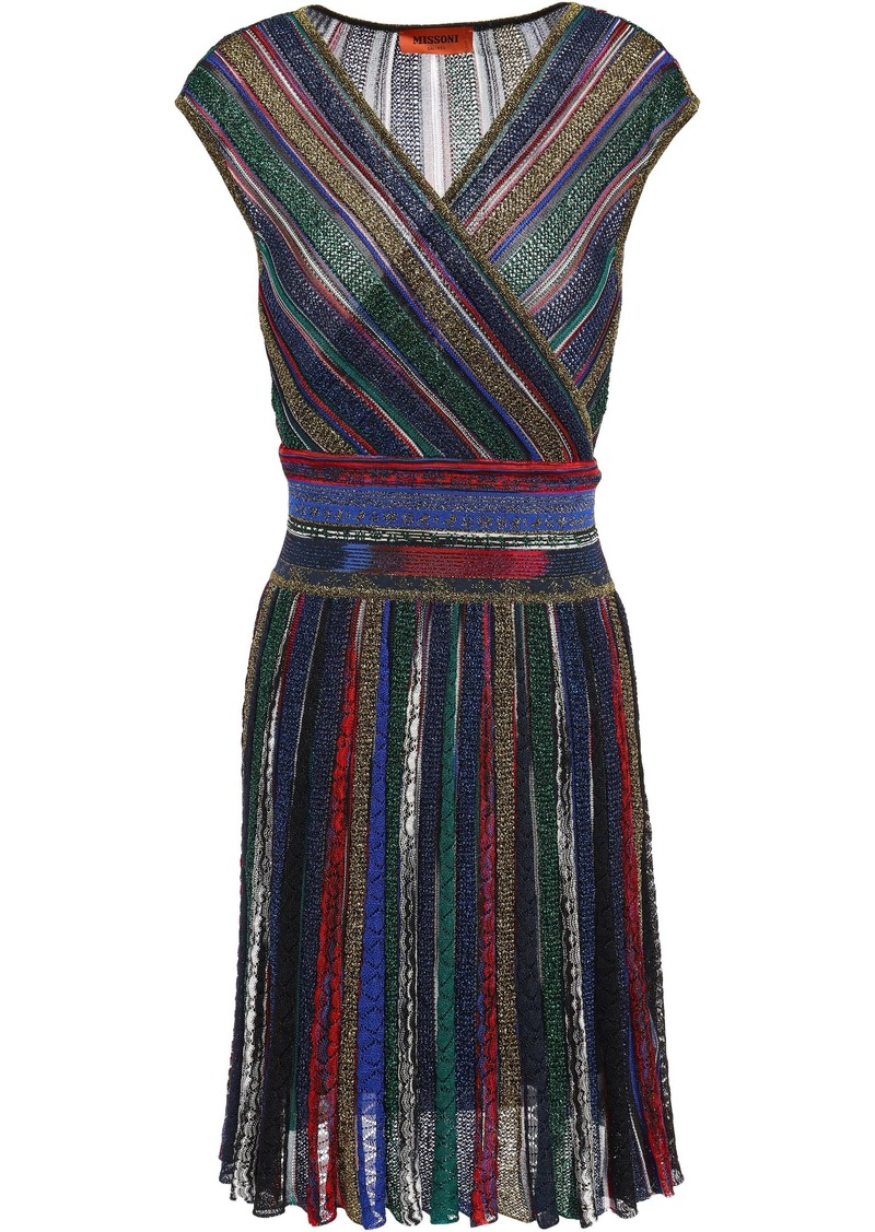 Missoni Woman Wrap-effect Metallic Striped Crochet-knit Dress Royal Blue