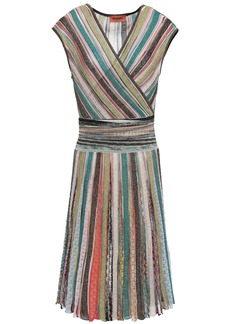 Missoni Woman Wrap-effect Metallic Striped Crochet-knit Dress Beige