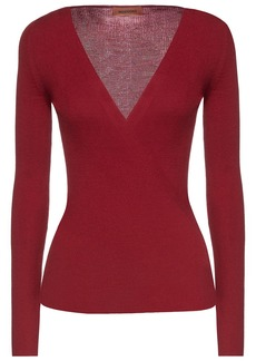 Missoni Woman Wrap-effect Ribbed Wool-blend Sweater Claret