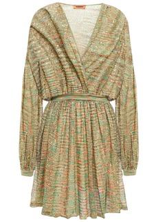 Missoni Woman Wrap-effect Sequin-embellished Crochet-knit Mini Dress Leaf Green