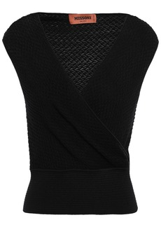 Missoni Woman Wrap-effect Wool-blend Top Black