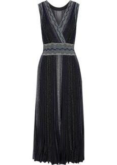 Missoni Wrap-effect pleated metallic crochet-knit midi dress