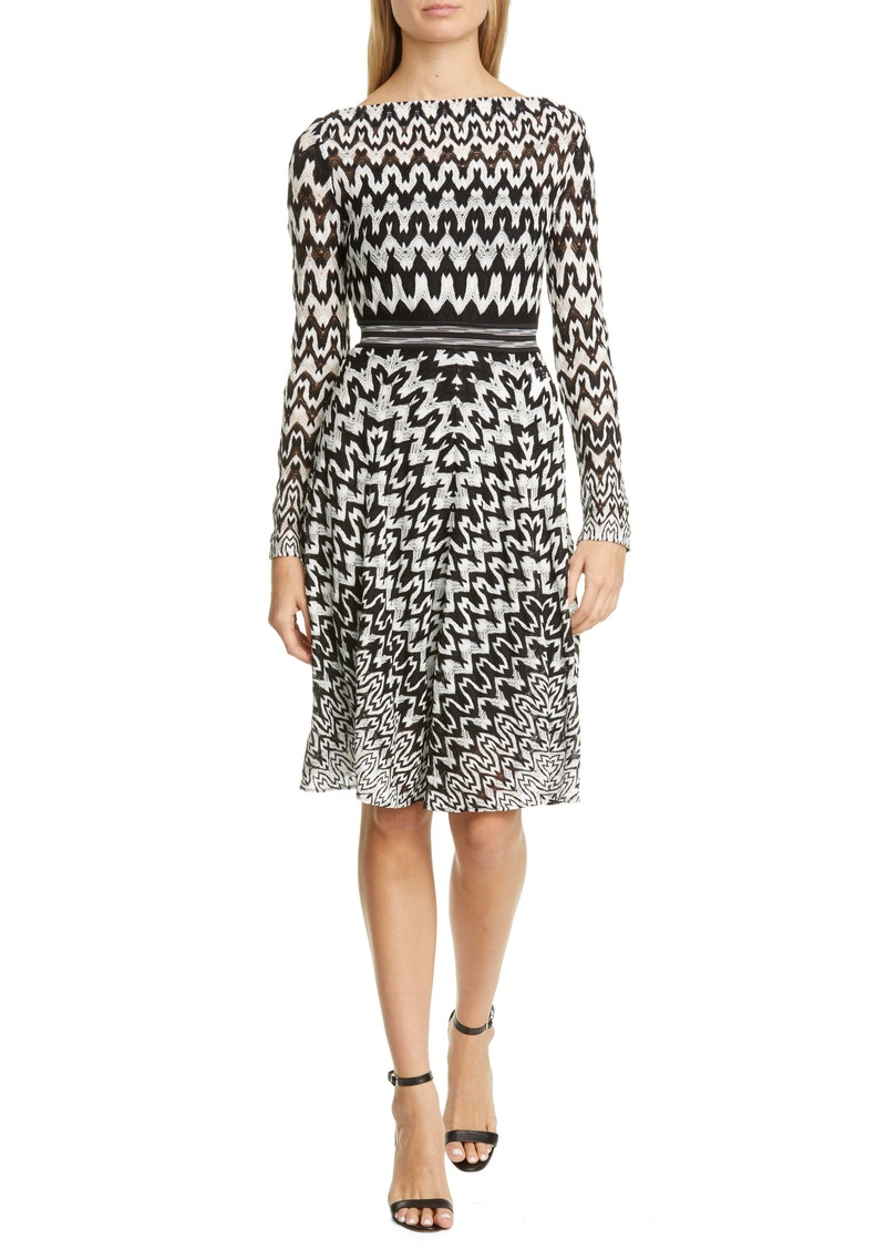 Missoni Zigzag Long Sleeve Fit & Flare Dress