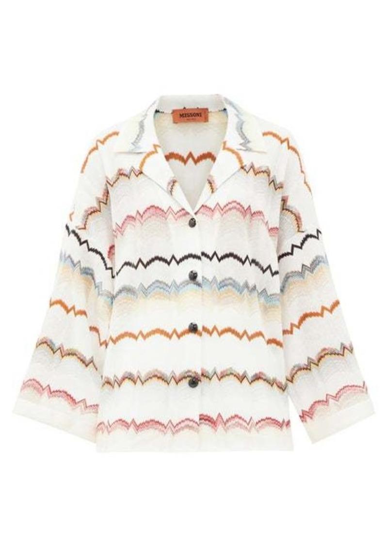 Missoni Zigzag striped crochet-knit shirt