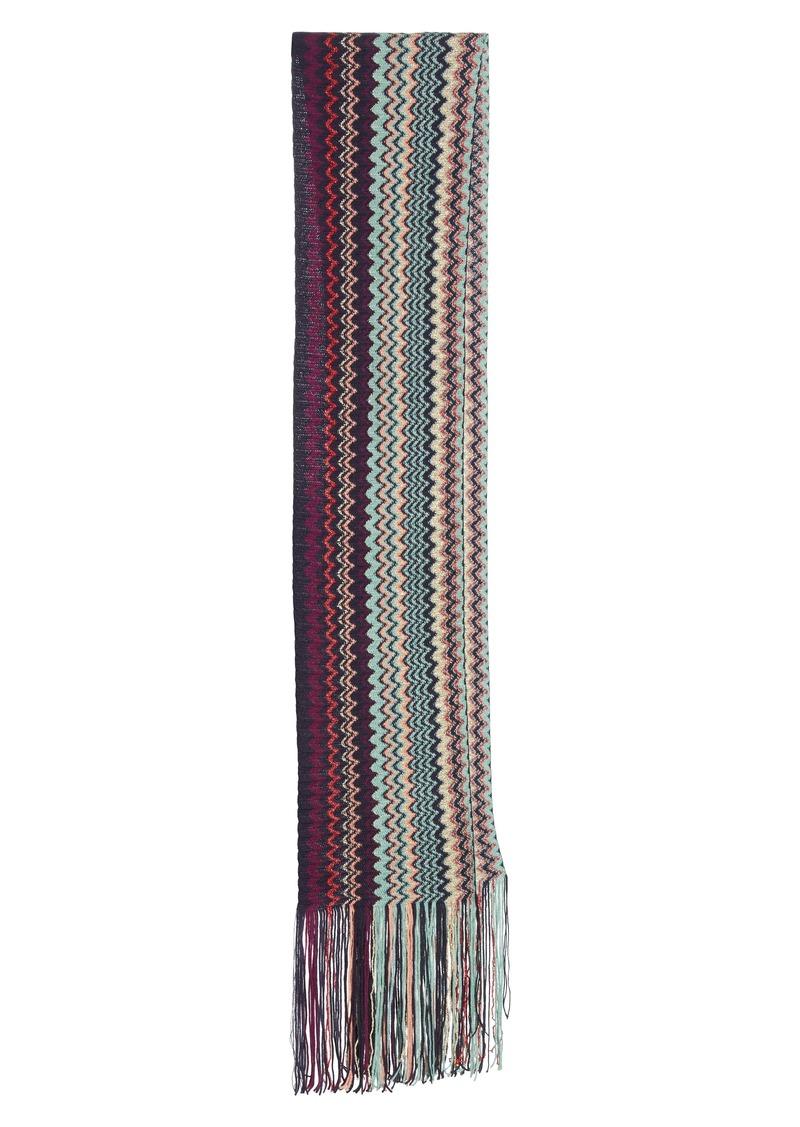 Missoni Zigzag Wool Blend Skinny Scarf