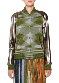 Missoni Mixed-Media Leather Space-Dye Bomber Jacket