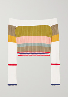 Missoni Off-the-shoulder Cropped Striped Ribbed-knit Top