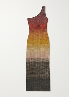 Missoni One-shoulder Dégradé Metallic Wool-blend Crochet-knit Midi Dress