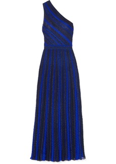 Missoni One-shoulder Striped Metallic Crochet-knit Gown