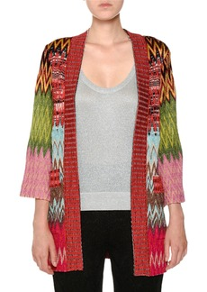 Missoni Open-Front 3/4-Sleeve Knit Oversized Cardigan