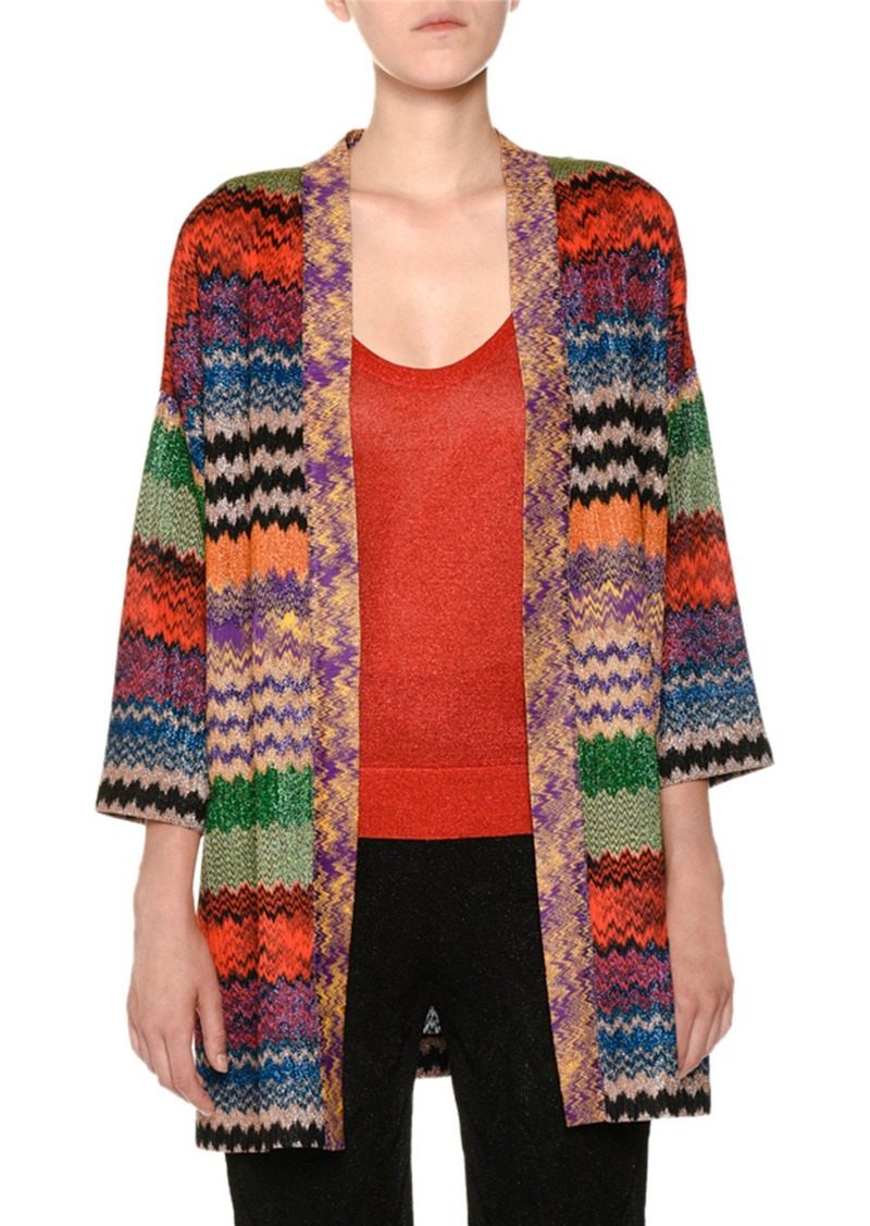 d866aa13cf7 Missoni Open-Front Multicolor Metallic Knit Oversized Cardigan ...