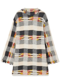 Missoni Oversized Fringed Checked Intarsia Knitted Hoodie