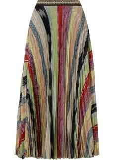 Missoni Pleated Metallic Crochet-knit Midi Skirt