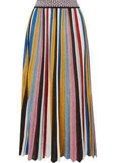 Missoni Pleated Striped Metallic Knitted Midi Skirt