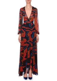 Missoni Plunging Long-Sleeve Space-Dye Long Dress