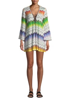 Missoni Printed Lace-Up Long-Sleeve Short Coverup