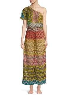 Missoni Raschel Rete Multicolor One-Shoulder Jumpsuit