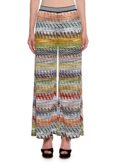 Missoni Rhombus Multi-Stripe Wide-Leg Crop Pants