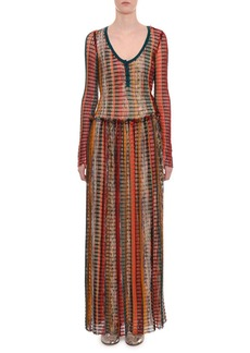 Missoni Scoop-Neck Long-Sleeve Multicolor Mesh  Long Dress