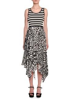 Missoni Sleeveless Crewneck Striped-Tank Floral-Print Skirt Midi Dress
