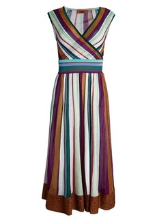 Missoni Sleeveless Lurex Striped Midi Dress