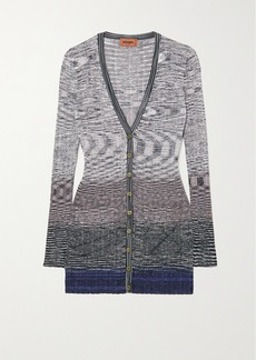 Missoni Space-dyed Ribbed Crochet-knit Cardigan