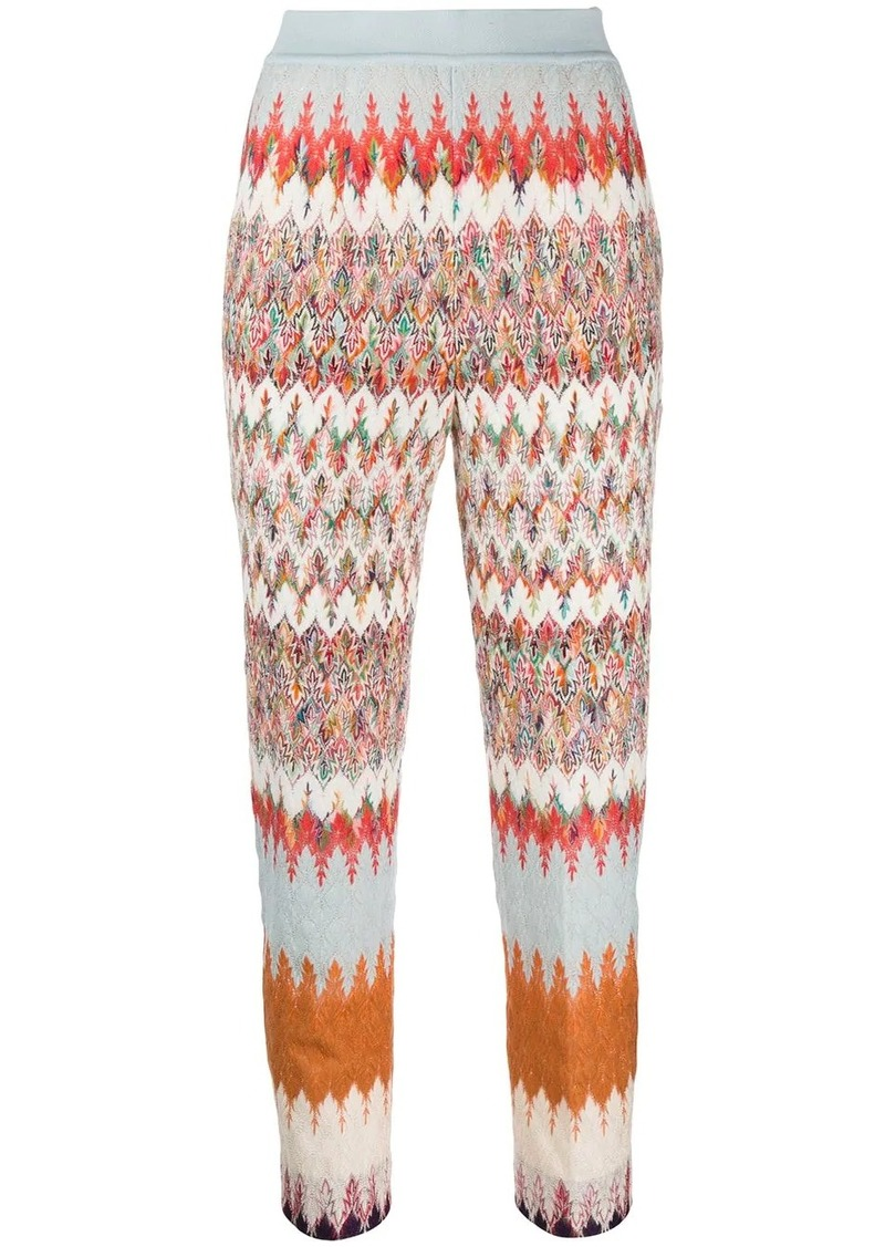 Missoni straight metallic-knit silk trousers