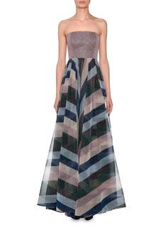 Missoni Strapless Bustier Metallic-Striped Evening Gown