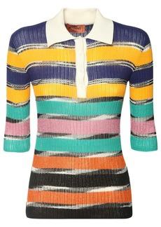 Missoni Striped Cotton Blend Knit Polo Top