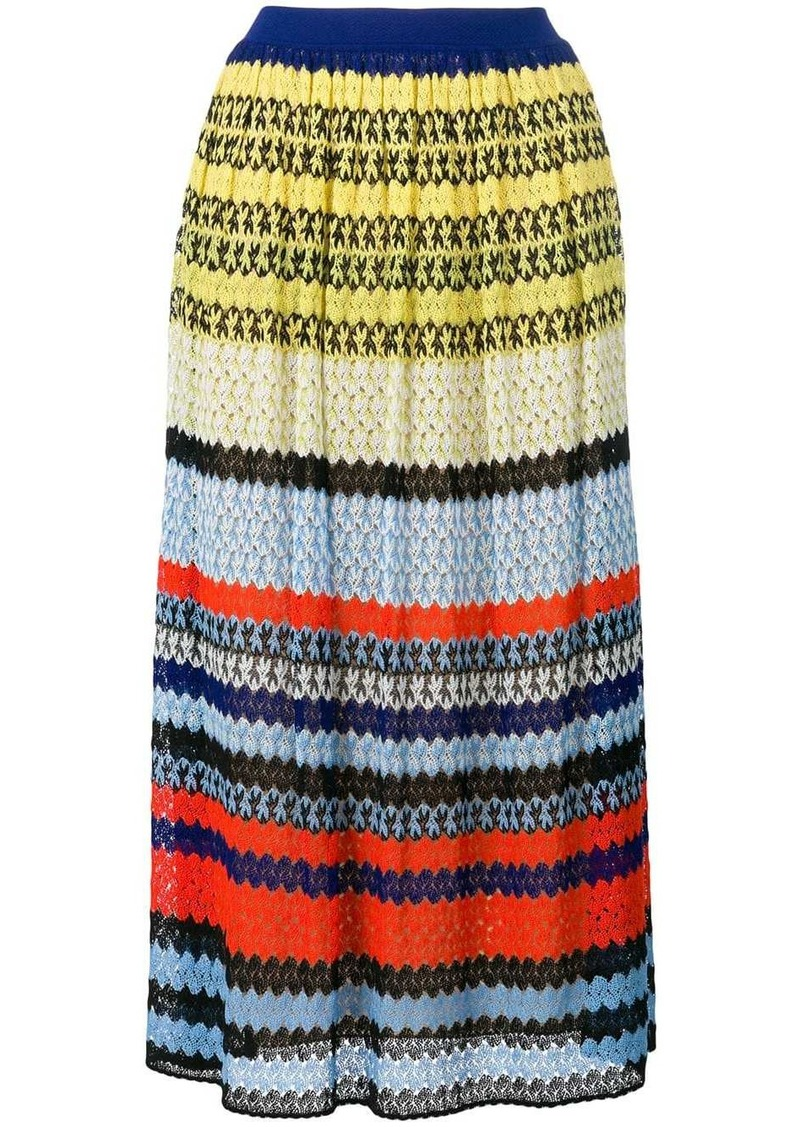 Missoni striped crochet-knit skirt