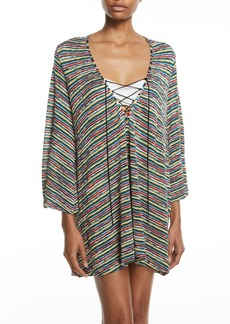 Missoni Striped Lace-Up Caftan Coverup